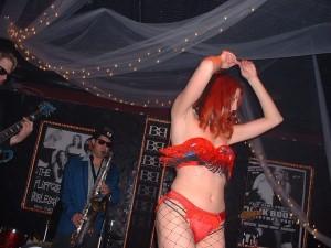 Photo Credit: Terran McCanna, L-R Artie Mondello, Jim Ivy, Cecilia Bravo (Fluffgirl Burlesque Society)