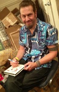 We ran into artist Derek Yaniger, who designed ATLRetro's logo, in the vendors' bazaar.