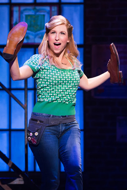 Lauren (Tiffany Engen) dances with shoes on her hands in the Broadway tour of KINKY BOOTS. Photo courtesy of Austin Northenor.
